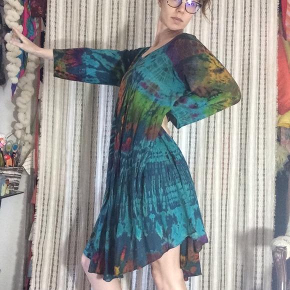 Vintage Dresses & Skirts - Ultimate TYE DYE MUMU Dress Gown Rayon